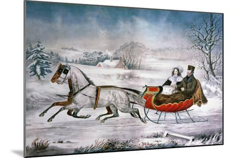The Road-Winter, 1853-Currier & Ives-Mounted Giclee Print