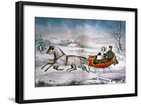 The Road-Winter, 1853-Currier & Ives-Framed Art Print