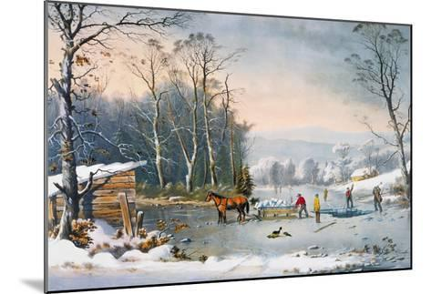 Currier & Ives Winter Scene-Currier & Ives-Mounted Giclee Print