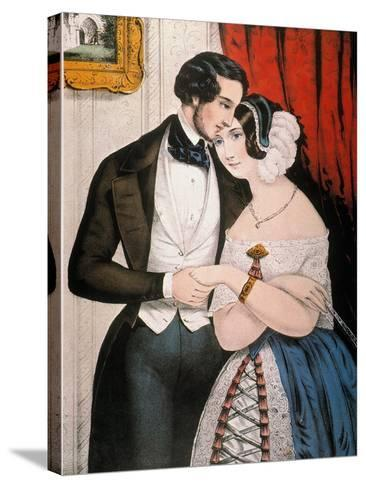 Lovers Reconciliation-Currier & Ives-Stretched Canvas Print