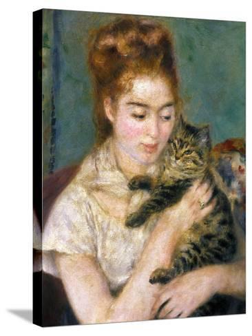 Renoir: Woman With A Cat-Pierre-Auguste Renoir-Stretched Canvas Print