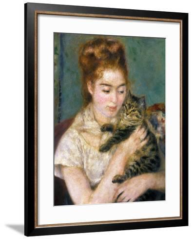 Renoir: Woman With A Cat-Pierre-Auguste Renoir-Framed Art Print