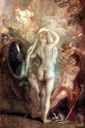 Judgment Of Paris-Jean Antoine Watteau-Stretched Canvas Print