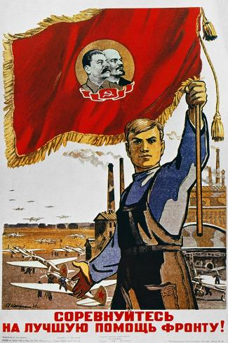 WWII: Russian Poster, 1942--Stretched Canvas Print