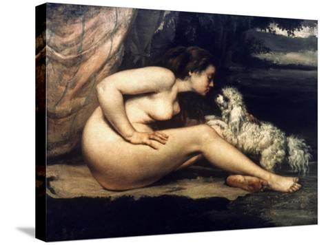 Courbet: Nude W/Dog, 1861-Gustave Courbet-Stretched Canvas Print