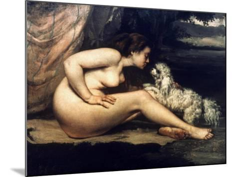 Courbet: Nude W/Dog, 1861-Gustave Courbet-Mounted Giclee Print
