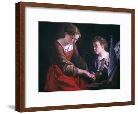 St. Cecilia And An Angel-Orazio Gentileschi-Framed Art Print