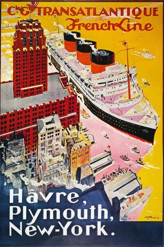 Steamship Poster, 1930S--Stretched Canvas Print