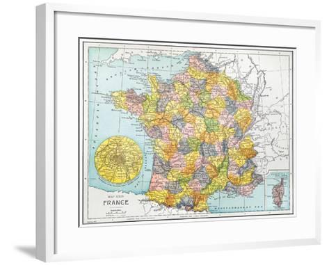 Map Of France, C1900--Framed Art Print
