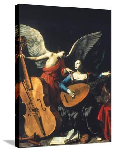 St. Cecilia And The Angel-Carlo Saraceni-Stretched Canvas Print