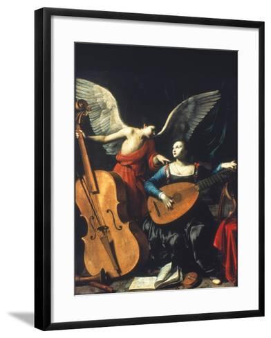 St. Cecilia And The Angel-Carlo Saraceni-Framed Art Print
