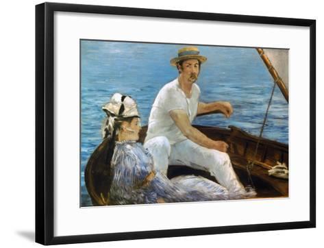 Manet: On A Boat, 1874-Edouard Manet-Framed Art Print