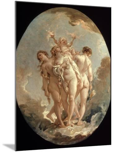 Boucher: Three Graces, 18 C-Francois Boucher-Mounted Giclee Print
