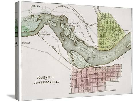 Jeffersonville, Indiana: Map--Stretched Canvas Print