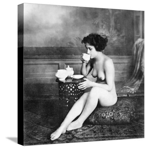 Nude Drinking Tea, 19Th Ct--Stretched Canvas Print
