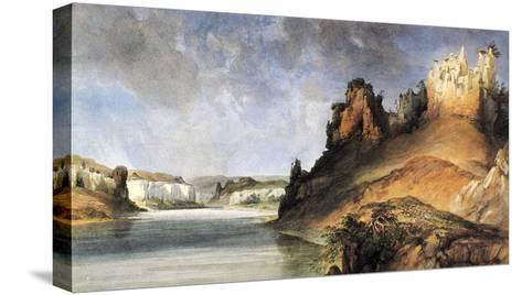 View Of The Stone Walls-Karl Bodmer-Stretched Canvas Print