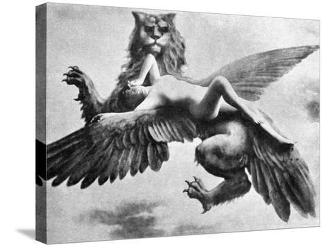 Nude And Griffin, 1890S--Stretched Canvas Print