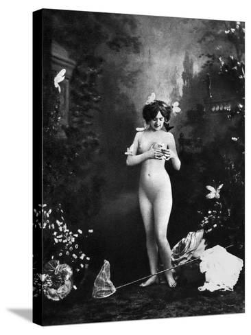 Nude And Butterflies, C1900--Stretched Canvas Print