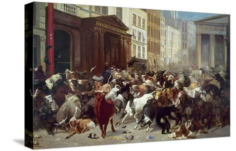 Wall Street: Bears & Bulls-William Holbrook Beard-Stretched Canvas Print