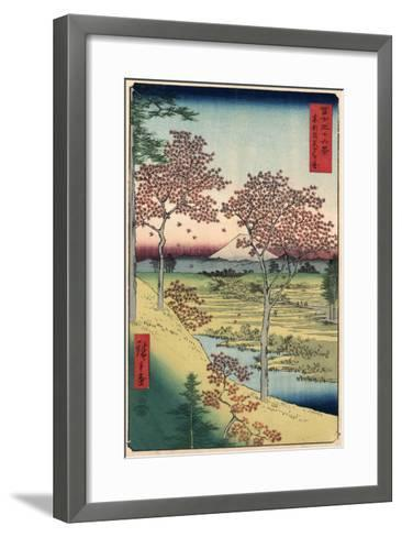 Japan: Maple Trees, 1858-Ando Hiroshige-Framed Art Print