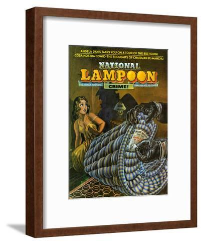National Lampoon, February 1972 - Crime! Don Not Remove Under Penalty of Law--Framed Art Print