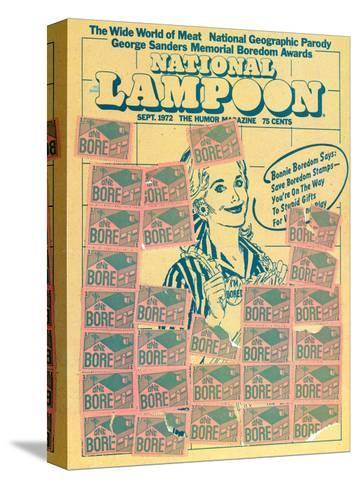 National Lampoon, September 1972 - Bonnie Boredom Says: Save Boredom Stamps--Stretched Canvas Print