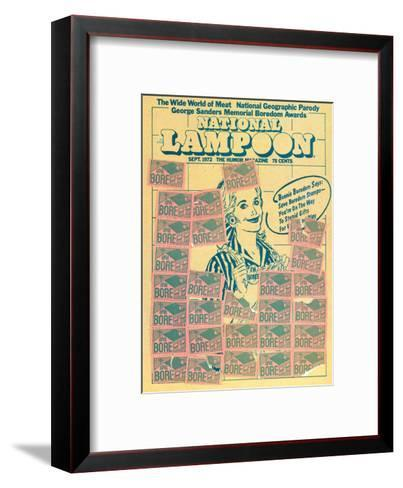 National Lampoon, September 1972 - Bonnie Boredom Says: Save Boredom Stamps--Framed Art Print