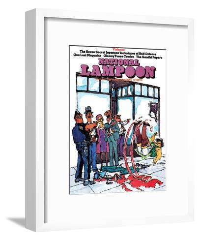National Lampoon, June 1973 - Violence, Slipping in Blood--Framed Art Print
