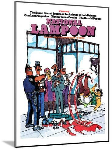 National Lampoon, June 1973 - Violence, Slipping in Blood--Mounted Art Print