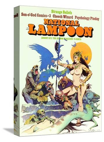 National Lampoon, August 1973 - Strange Beliefs,Sexy Warrior Woman--Stretched Canvas Print