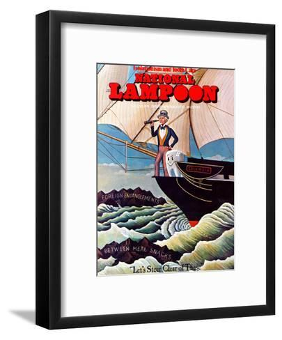 National Lampoon, August 1974 - Uncle Sam and Tooth Steer Clear of Foreign Entanglements and Betwee--Framed Art Print