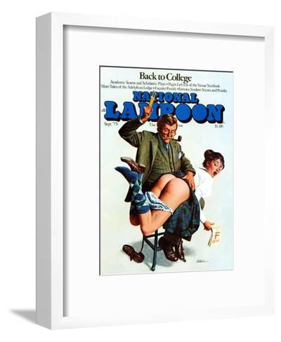 National Lampoon, September 1975 - back to College: Naughty Professor or Naughty Student?--Framed Art Print
