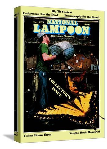 National Lampoon, October 1975 - Collector's Issue, Butterflies in Trash--Stretched Canvas Print
