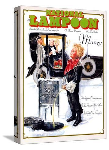 National Lampoon, December 1975 - Money, Peeing on the Men Working Below--Stretched Canvas Print