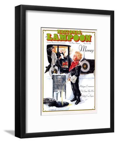 National Lampoon, December 1975 - Money, Peeing on the Men Working Below--Framed Art Print