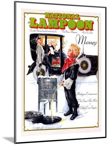 National Lampoon, December 1975 - Money, Peeing on the Men Working Below--Mounted Art Print