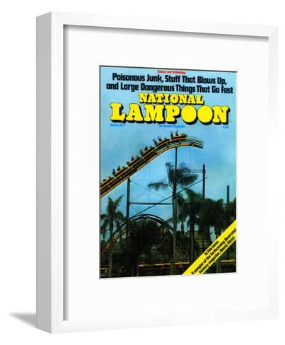 National Lampoon, March 1977 - Rollercoaster: Large Dangerous Things That Go Fast--Framed Art Print