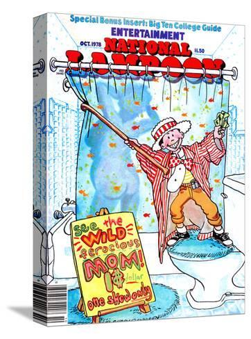 National Lampoon, October 1978 - Entertainment, Kid Shows Wild Ferocious Mom in Shower--Stretched Canvas Print