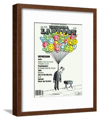 National Lampoon, January 1979 - Depression: Hanged with Happy Baloons--Framed Art Print