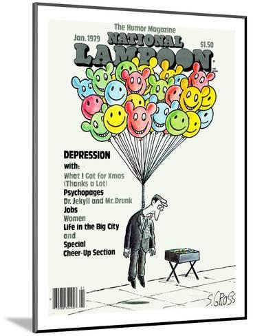 National Lampoon, January 1979 - Depression: Hanged with Happy Baloons--Mounted Art Print