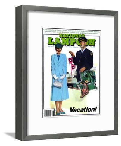National Lampoon, August 1979 - Vacation! Security finds Lingerie in her Suitcase--Framed Art Print