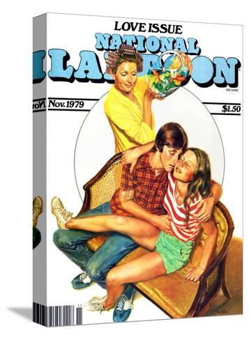 National Lampoon, November 1979 - Love Issue, Mom Catches Kids Getting Fresh on the Couch--Stretched Canvas Print