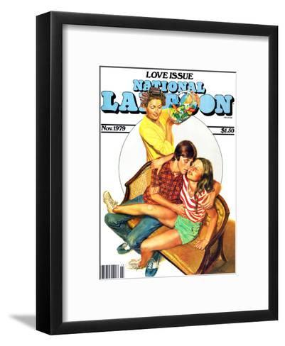 National Lampoon, November 1979 - Love Issue, Mom Catches Kids Getting Fresh on the Couch--Framed Art Print