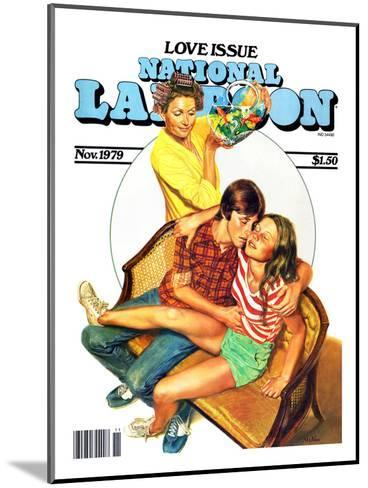 National Lampoon, November 1979 - Love Issue, Mom Catches Kids Getting Fresh on the Couch--Mounted Art Print