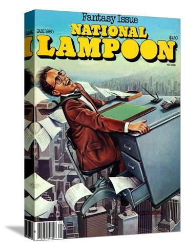 National Lampoon, January 1980 - Fantasy Issue, Desk Flying--Stretched Canvas Print