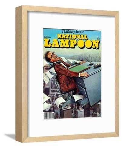 National Lampoon, January 1980 - Fantasy Issue, Desk Flying--Framed Art Print