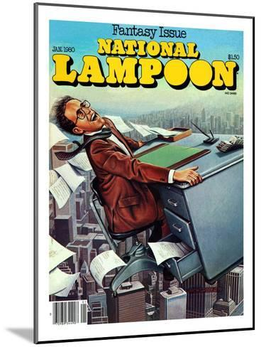 National Lampoon, January 1980 - Fantasy Issue, Desk Flying--Mounted Art Print