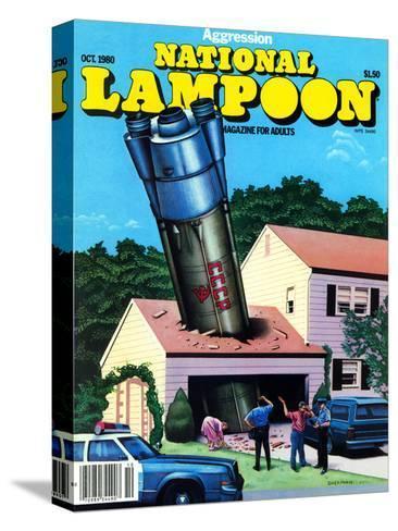 National Lampoon, October 1980 - Agression Rocket Missile Lands in Garage--Stretched Canvas Print
