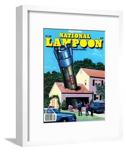 National Lampoon, October 1980 - Agression Rocket Missile Lands in Garage--Framed Art Print