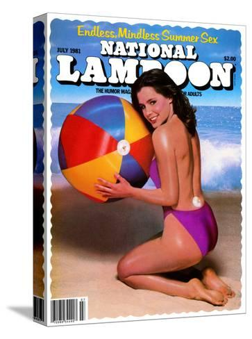 National Lampoon, July 1981 - Endless, Mindless Summer Sex with a Beach Babe on the Cover--Stretched Canvas Print